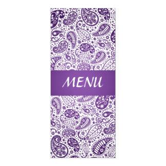 Elegantes Hochzeits-Menü-Paisley-Muster lila 10,2 X 23,5 Cm Einladungskarte