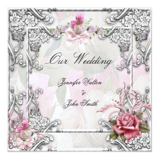 Elegantes Hochzeits-Rosa-Rosen-Silber-Weiß Quadratische 13,3 Cm Einladungskarte