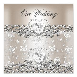 Elegantes Hochzeits-Silber-Creme-Diamant-Herz Quadratische 13,3 Cm Einladungskarte
