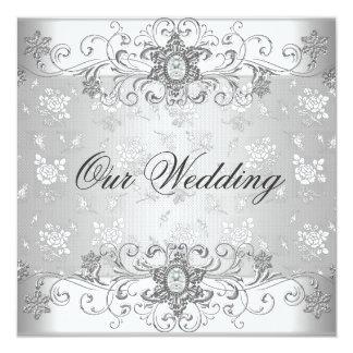 Elegantes Hochzeits-Silber-weiße Quadratische 13,3 Cm Einladungskarte