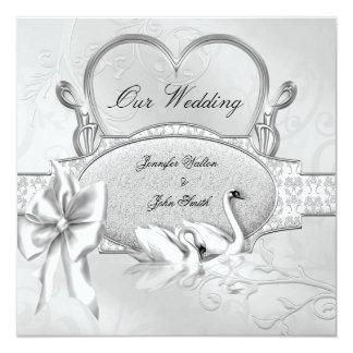 Elegantes Hochzeits-Silber-weißer Quadratische 13,3 Cm Einladungskarte