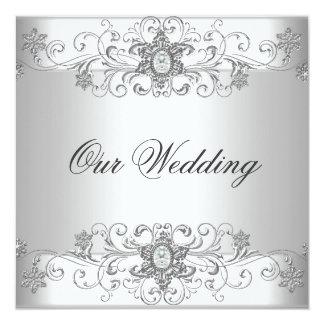 Elegantes Hochzeits-Silber-weißes Diamant-Juwel Quadratische 13,3 Cm Einladungskarte