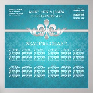 Elegantes Hochzeits-Sitzplatz-Diagramm-Lilien-Blau Poster