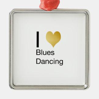 Elegantes i-Herz-Blues-Tanzen Quadratisches Silberfarbenes Ornament