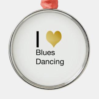 Elegantes i-Herz-Blues-Tanzen Rundes Silberfarbenes Ornament