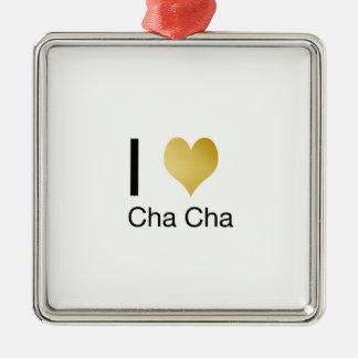 Elegantes i-Herz Cha Cha Quadratisches Silberfarbenes Ornament