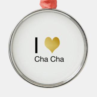 Elegantes i-Herz Cha Cha Silbernes Ornament