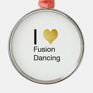 Elegantes i-Herz-Fusions-Tanzen Rundes Silberfarbenes Ornament