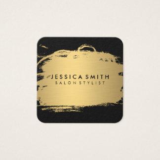 Elegantes Imitat-metallisches Gold und Schwarzes Quadratische Visitenkarte