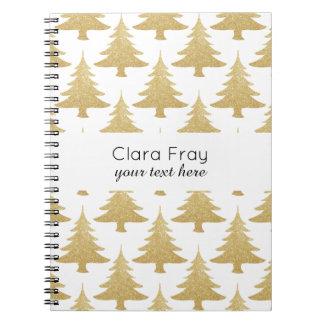 elegantes klares GoldGlitter Weihnachtsbaummuster Notizblock