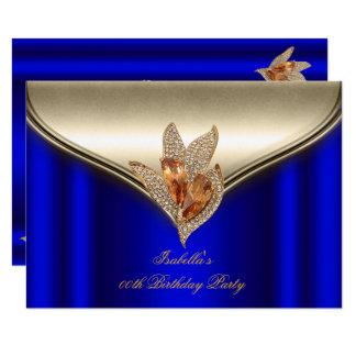 Elegantes königliches Blau-Bronze-Brown-GoldParty Karte