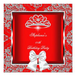 Elegantes königliches rotes quadratische 13,3 cm einladungskarte