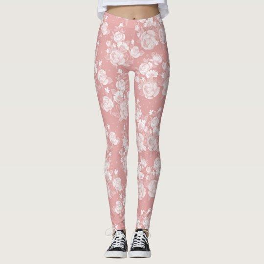 Elegantes korallenrotes weißes Vintages elegantes Leggings