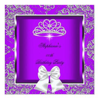 Elegantes lila Damast-Silber-Geburtstags-Party Quadratische 13,3 Cm Einladungskarte