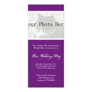 Elegantes Lila Ihre Foto-Hochzeit lädt ein 10,2 X 23,5 Cm Einladungskarte