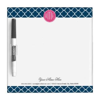 Elegantes Marine-Blau Quatrefoil mit rosa Memo Boards