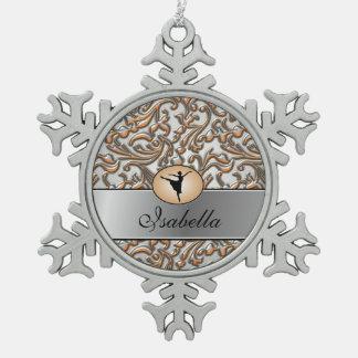 Elegantes metallisches Ballett Schneeflocken Zinn-Ornament