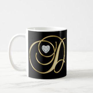 Elegantes mit Monogramm Goldzuerstschwarzes des Kaffeetasse