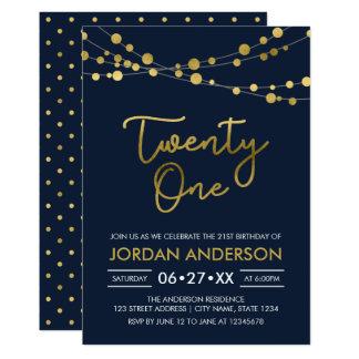Elegantes modernes blaues Imitat-Gold beleuchtet 12,7 X 17,8 Cm Einladungskarte
