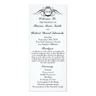 Elegantes Monogramm-Hochzeits-Programm 10,2 X 23,5 Cm Einladungskarte