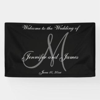 Elegantes Monogramm-Schwarz-weiße Hochzeits-Fahne Banner