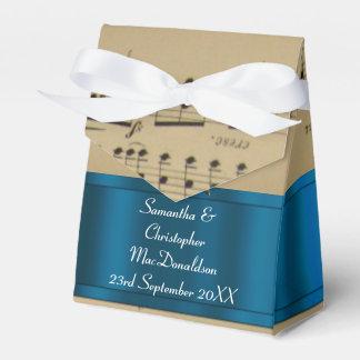 Elegantes Musikblatt und blaue Hochzeit Geschenkschachtel