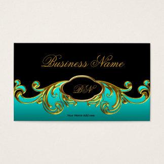 Elegantes nobles schwarzes aquamarines blaues visitenkarte