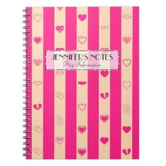 Elegantes Pink Stripes modernes Herz-Muster Spiral Notizblock