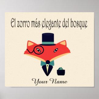 Elegantes Plakat Fox spanische Sprach