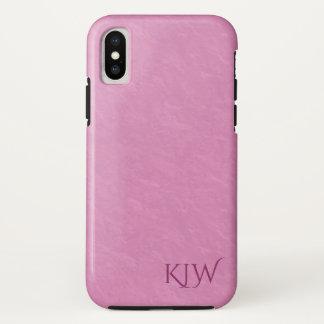 Elegantes reiches rosa Monogramm iPhone X Hülle
