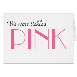 Elegantes rosa Geschlecht decken danken Ihnen zu Mitteilungskarte