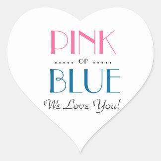 Elegantes rosa oder blaues Geschlecht decken Herz-Aufkleber