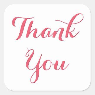 Elegantes rosa Skript-Gastgeschenk danken Ihnen Quadratischer Aufkleber