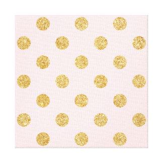 Elegantes Rosa-und GoldGlitter-Polka-Punkt-Muster Leinwanddruck