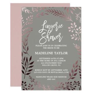 Elegantes Rosen-Gold und graue Wäsche-Dusche Karte
