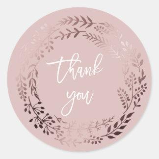 Elegantes Rosen-Gold und Rosa danken Ihnen Runder Aufkleber