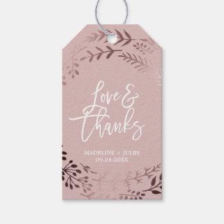 """Elegantes Rosen-Gold und rosa """"Liebe-u. Dank-"""" Geschenkanhänger"""