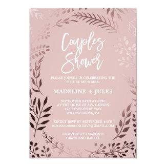 Elegantes Rosen-Gold und rosa Paar-Dusche Karte