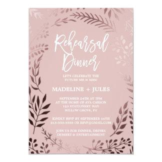 Elegantes Rosen-Gold und rosa Proben-Abendessen Karte