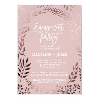 Elegantes Rosen-Gold und rosa Verlobungs-Party Karte