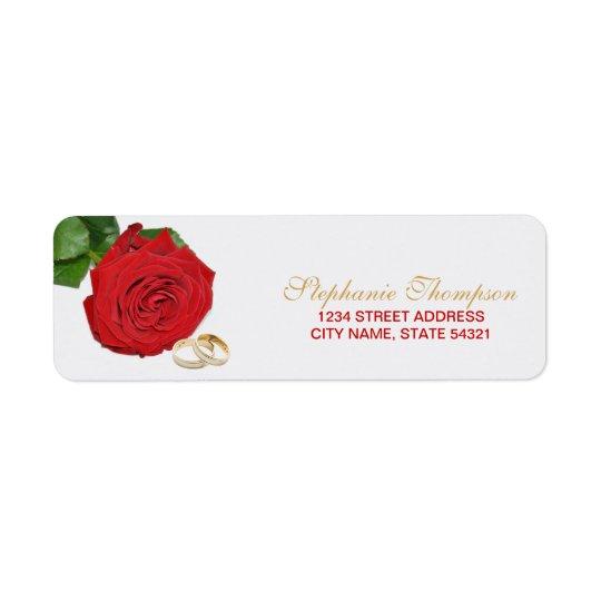 Elegantes Rosen-Hochzeits-Adressen-Etikett Rücksendeetikett