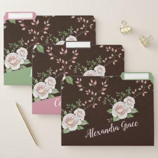Elegantes Rosen-Muster personalisiert Papiermappe