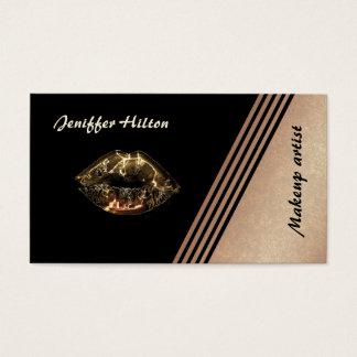 Elegantes Rosengold stripes metallische Lippen Visitenkarten