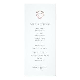 Elegantes Rosengoldherz-Hochzeitsprogramm Karte