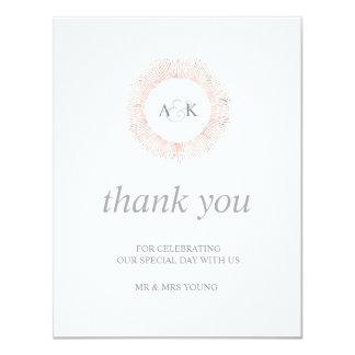 Elegantes Rosengoldmonogramm danken Ihnen - Ebene 10,8 X 14 Cm Einladungskarte