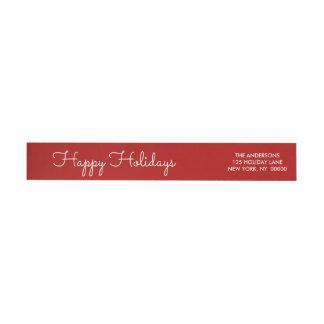 Elegantes Rot-frohe Feiertage Skript beschriftete Rundum-Adressaufkleber Für Rückversand
