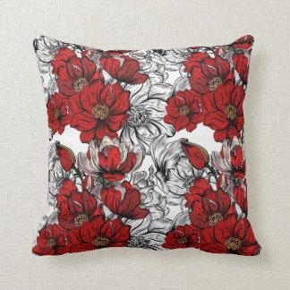 Elegantes rotes Blumenmuster Kissen