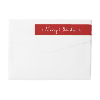 Elegantes rotes frohe Weihnacht-Skript Rundum-Adressaufkleber Für Rückversand