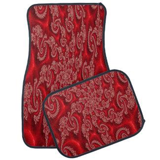 Elegantes rotes Spitze-Entwurfs-Set von 4 Autofußmatte