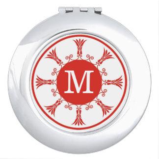 Elegantes rotes weißes Muster-Monogramm Schminkspiegel